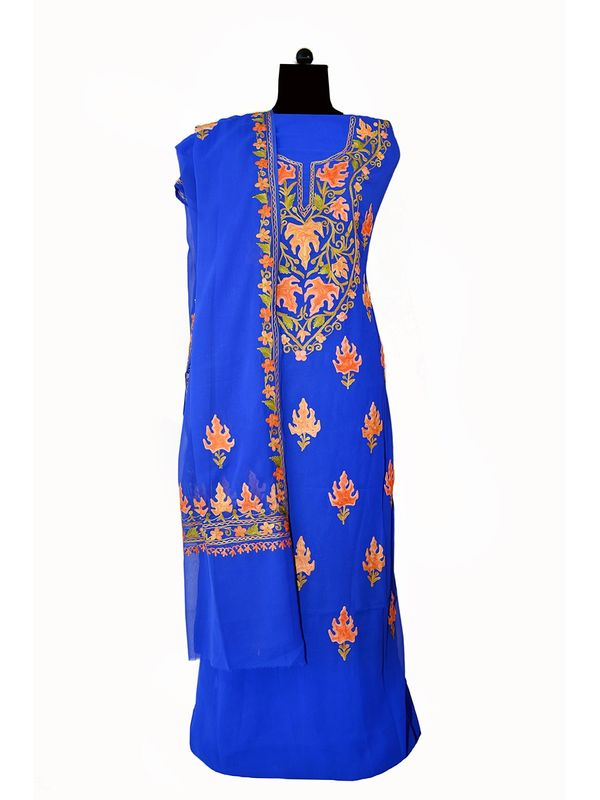 Blue Kashmiri Aari Work Pure Georgette Suit