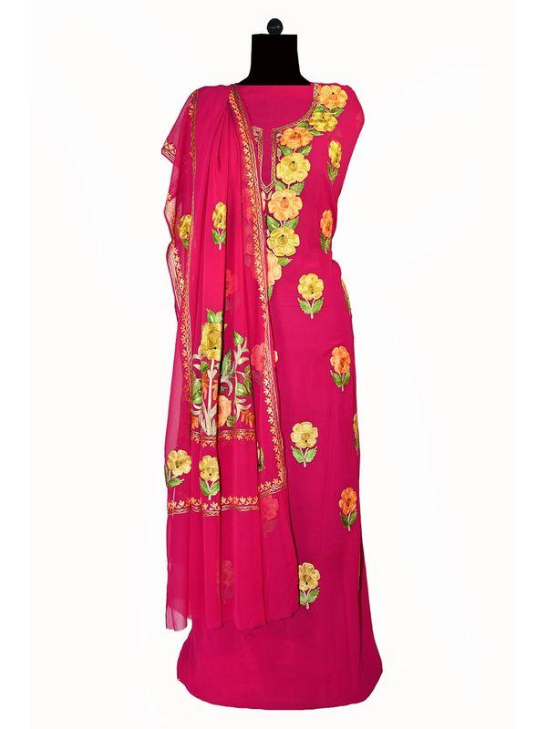 Kashmiri magenta color aari work pure georgette Suit