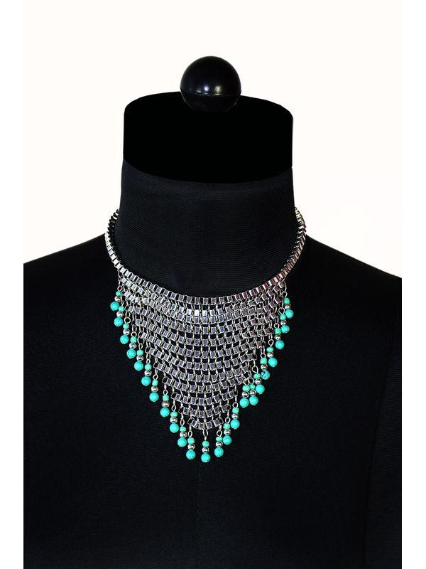 Silver coloured fringe necklace