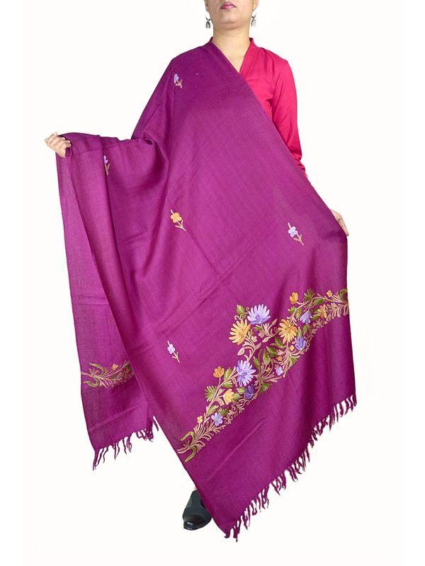 Purple Pure Wool Kashmiri Aari Work Stole