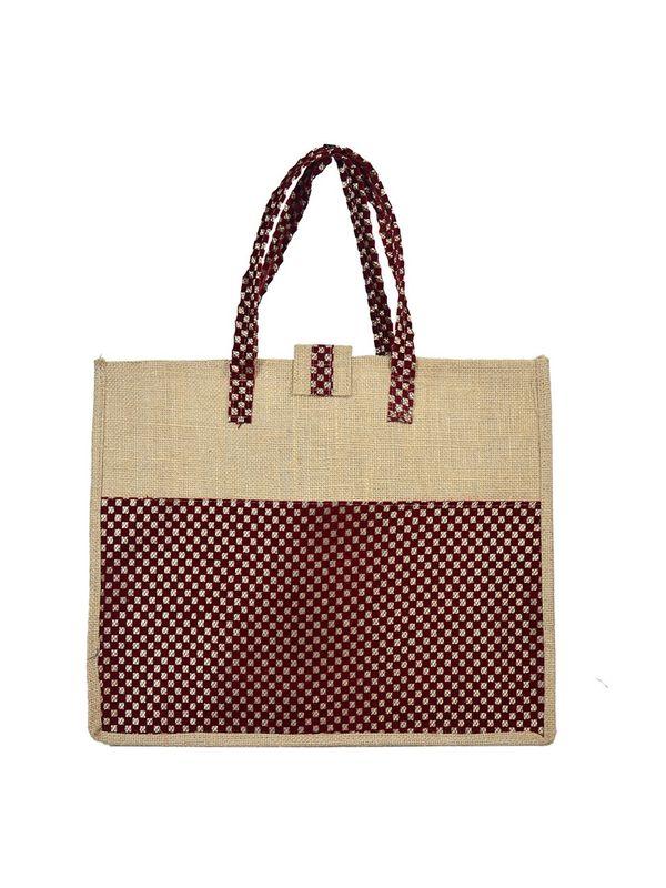 Brown Color Velvet Jute Shopping bag