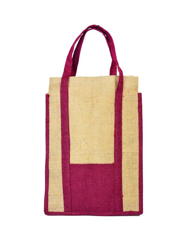 Purple Color Jute Shopping bag