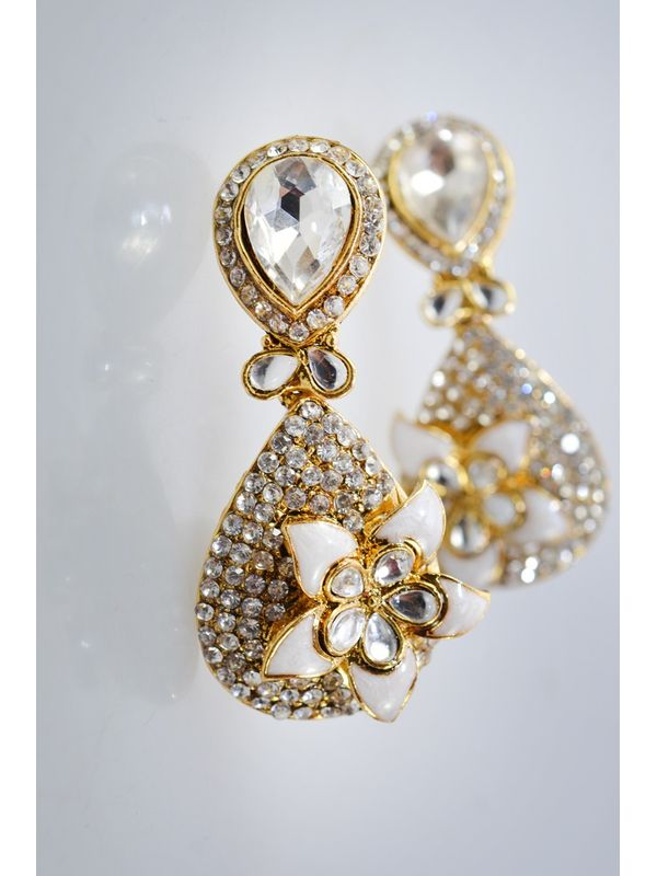 White/Golden Sparkle Danglers & Drop
