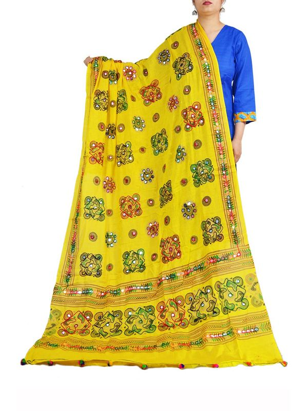 Aariwork Cotton Kutchi Mirror Work Yellow Dupatta