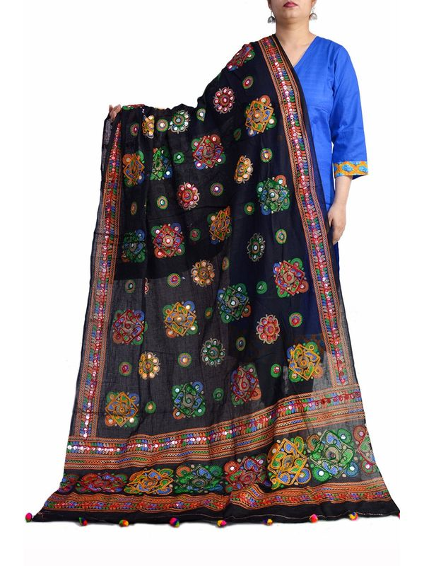 Aariwork Cotton Kutchi Mirror Work Black Dupatta