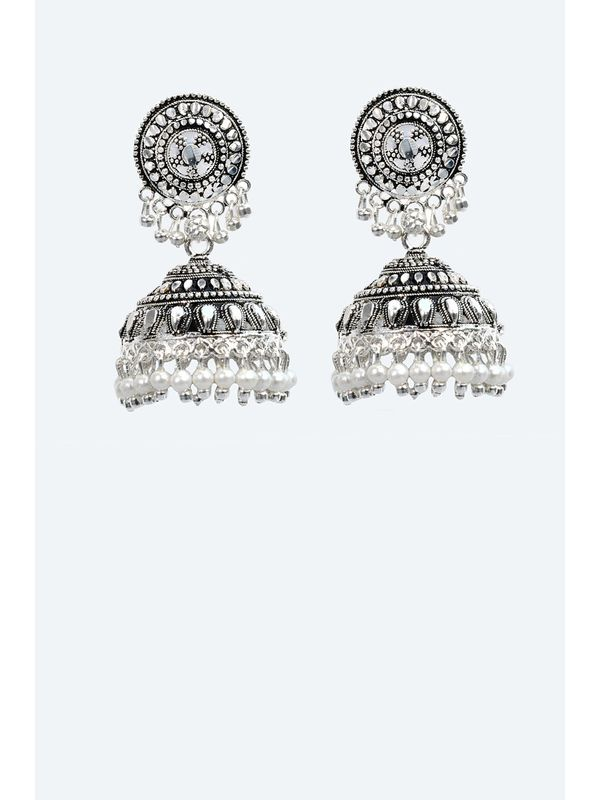 Big Ethnic Jhumkas in Silver Alloy with Pearls