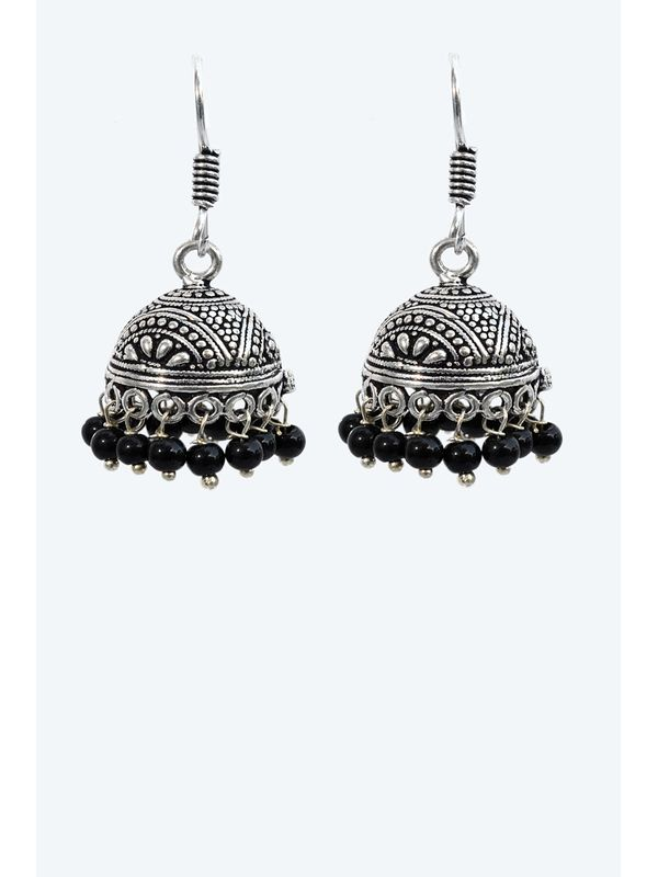 Oxidised Silver Ethnic Jumkis with Black Pearls