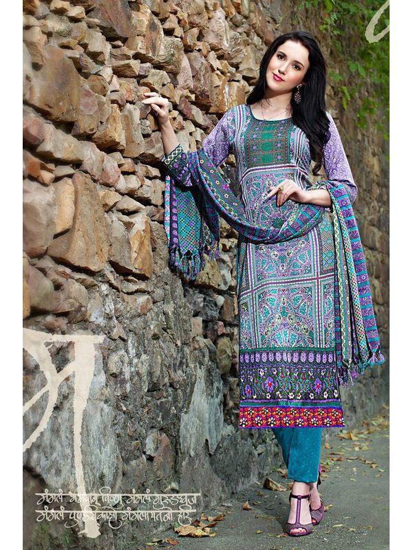 Pakistani Style Printed Purple Pashmina Suit With Shawl