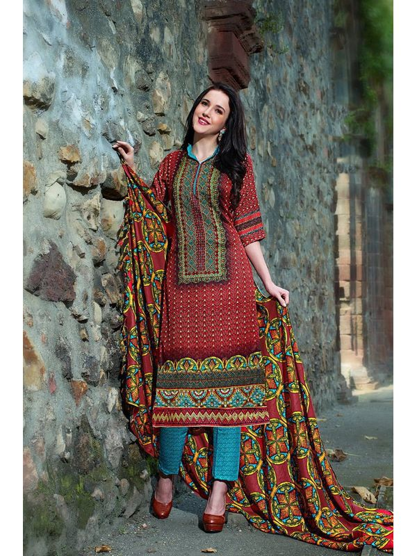 Pakistani Style Maroon Color Printed Pashmina Suit With Shawl
