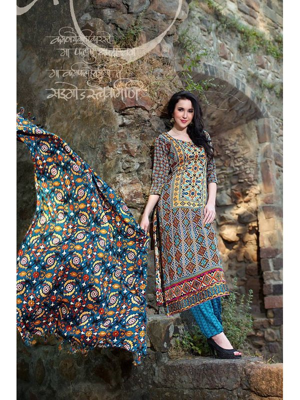 Pakistani Style Multi Color Printed Pashmina Suit With Shawl