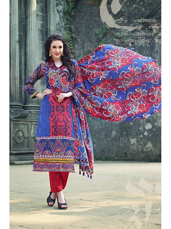 Pakistani Style Red Blue Color Printed Pashmina Suit With Shawl