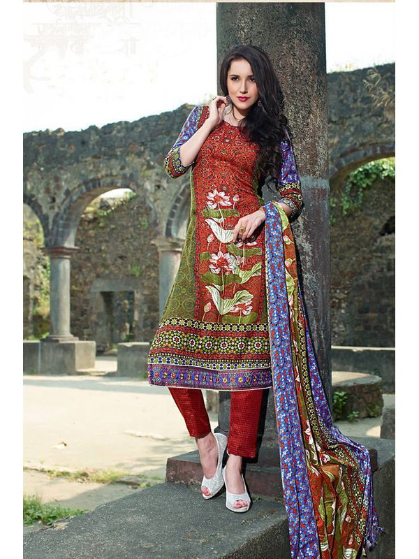 Pakistani Style Printed Rust Green Woolen Suit With Shawl