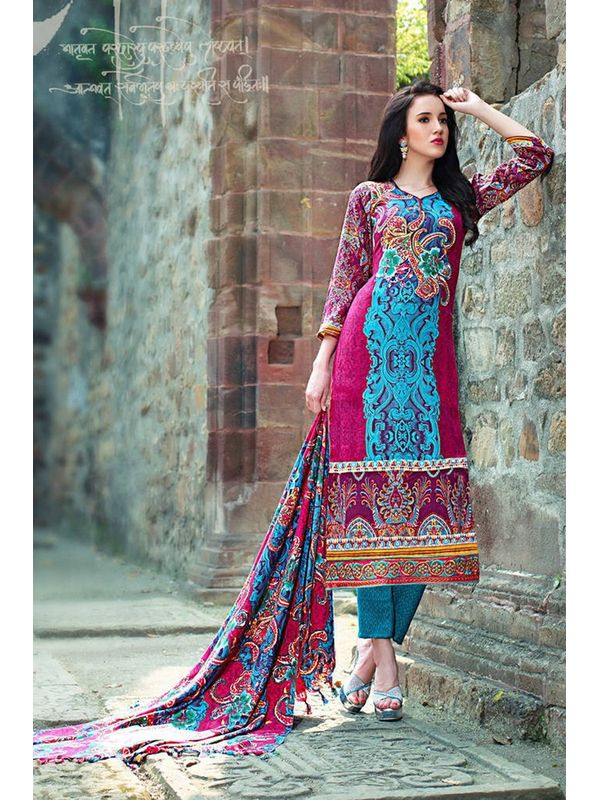 Pakistani Style Printed Red Color Pashmina Suit With Shawl