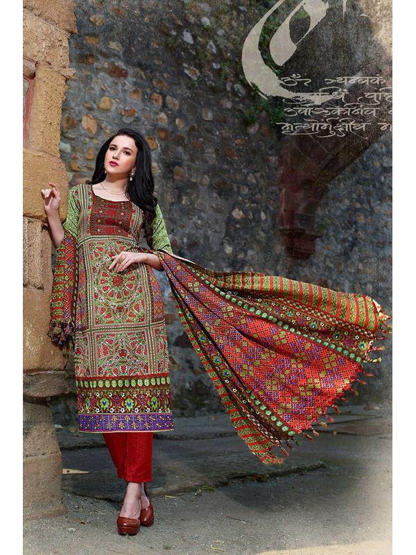 Pakistani Style Printed Pashmina Suit With Shawl