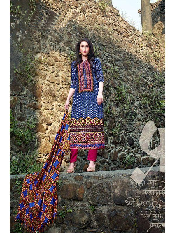 Pakistani Style Printed Blue Pashmina Suit With Shawl