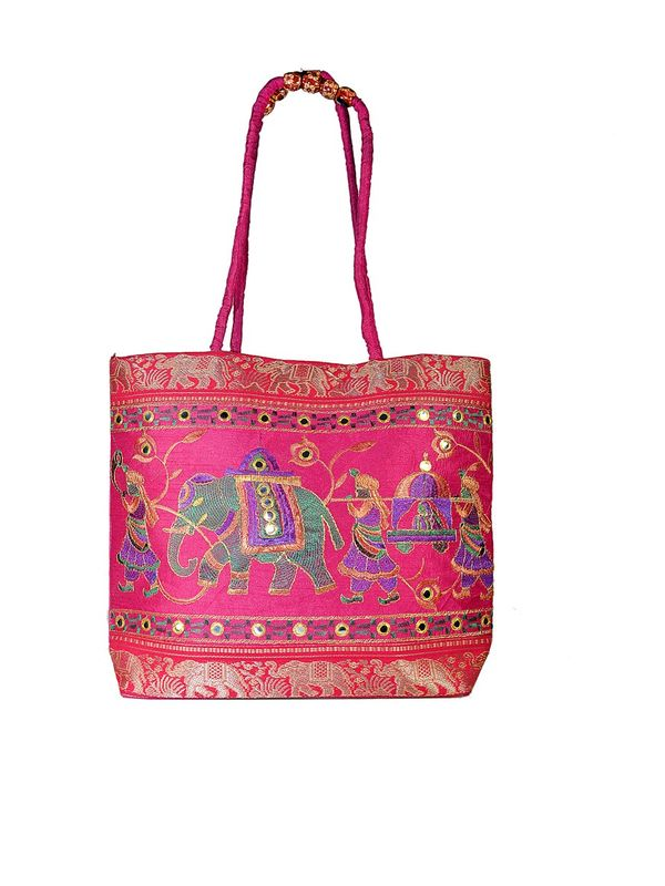 Pink Color Ethnic Silk Shoulder Handbag