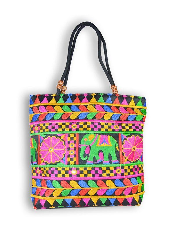 Raw Silk Ethnic Black Shoulder Handbag
