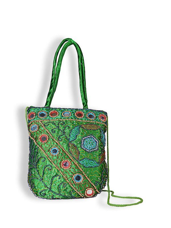 Raw Silk Ethnic Green Color Shoulder Handbag