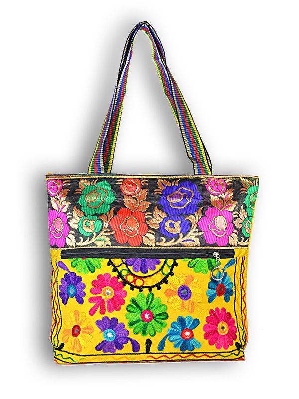 Raw Silk Ethnic Yellow Color Shoulder Handbag