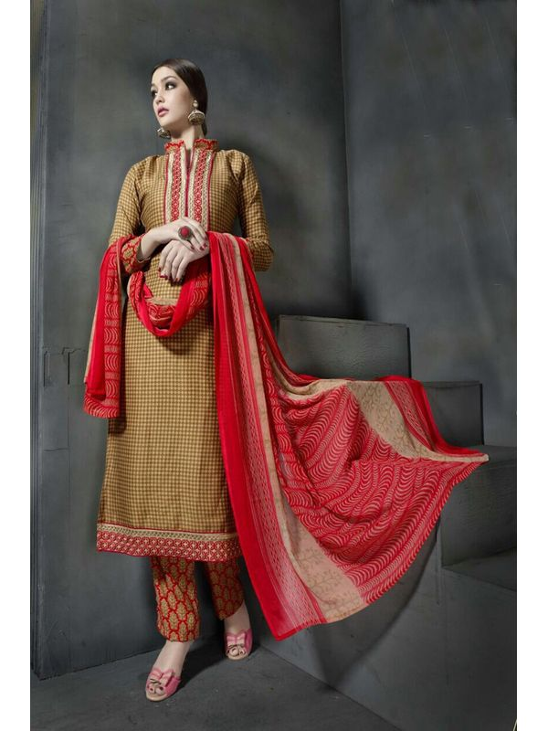 Pashmina Golden Red Color Printed Suit With Pure Chiffon Dupatta