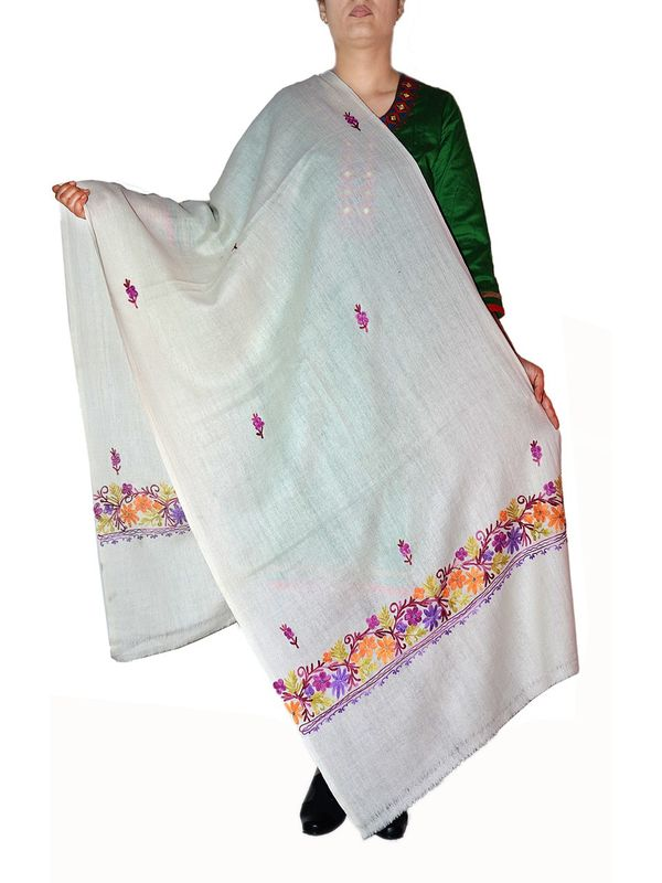 Off White Pashmina Aari Work Kashmiri Shawl