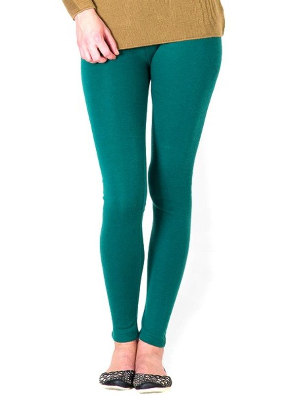 Green Cotton Slim Fit Legging
