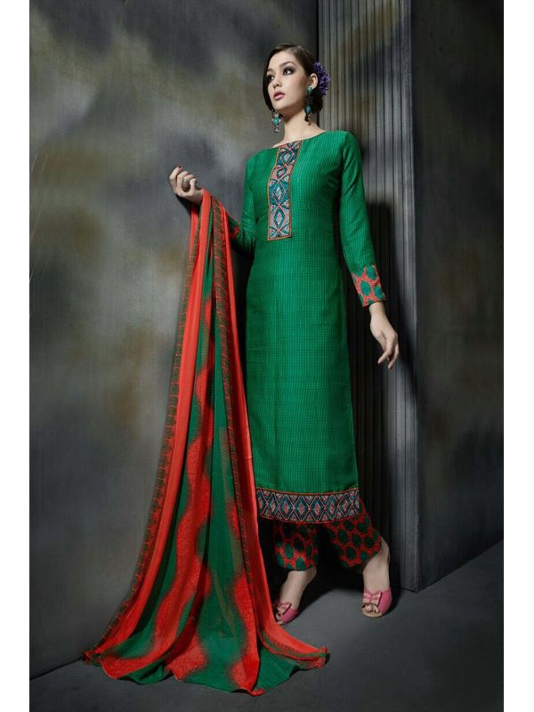 Pashmina Leaf Green Color Printed Suit With Pure Chiffon Dupatta