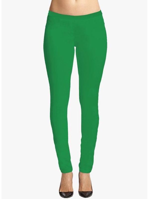 Solid Green Cotton Slim Fit Legging