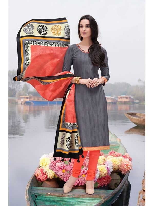 Grey Color Bhagalpuri Silk Un Stitched Suit With Dupatta