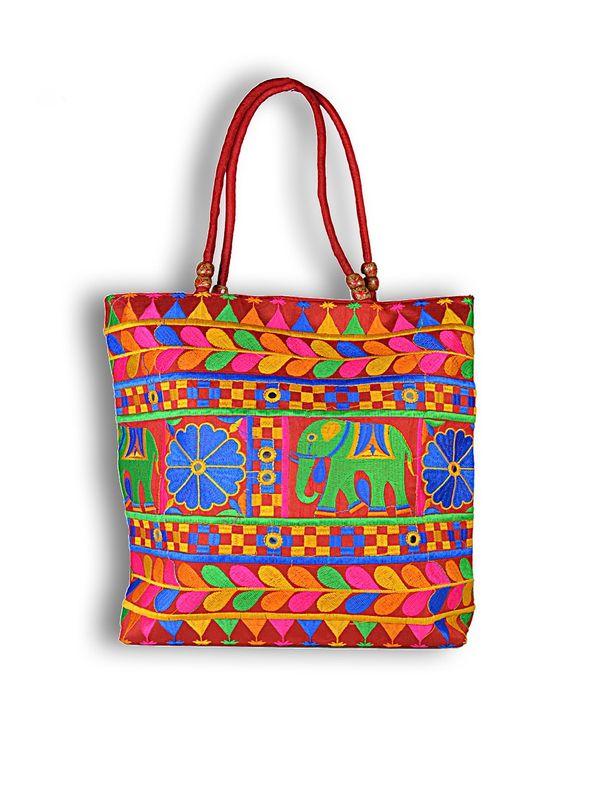 Raw Silk Ethnic Red Shoulder Handbag