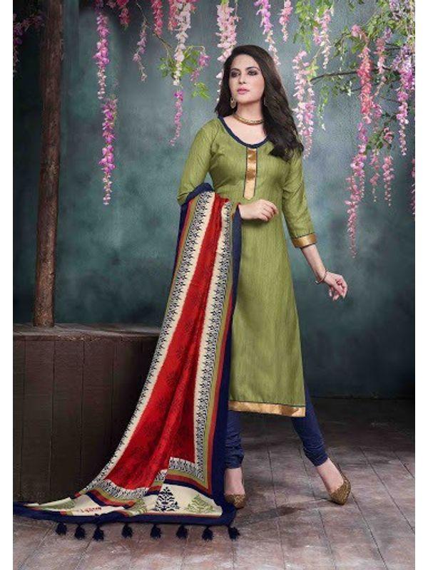 Green Bhagalpuri Silk Churidar Salwar Kameez