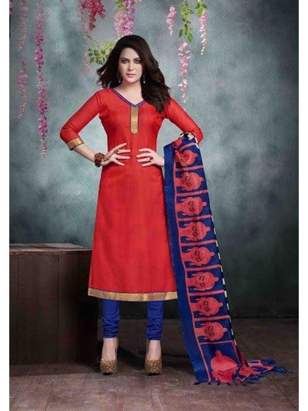 Red Bhagalpuri Silk Churidar Salwar Kameez