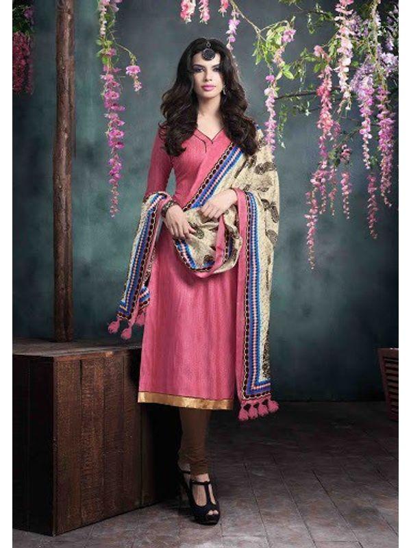 Pink Bhagalpuri Silk Churidar Salwar Kameez