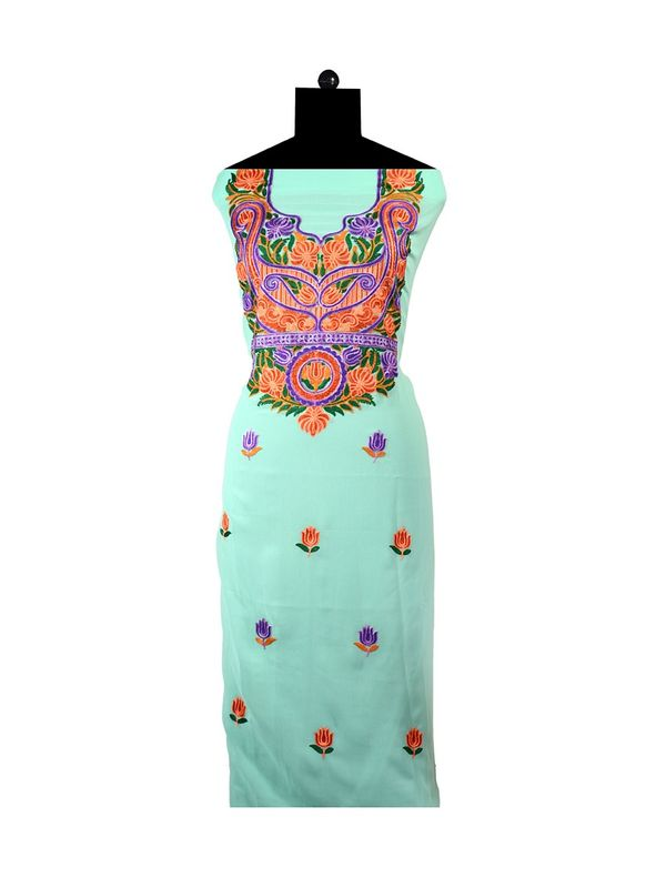 Light Green Embroidered Unstitched Georgette Kurti