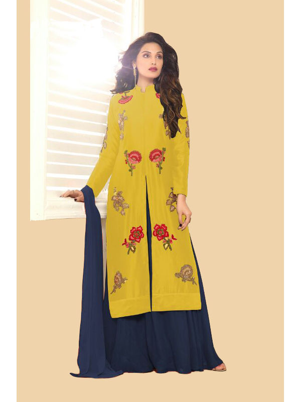 Mustard & Blue Color Glace Cotton Embroidered Top With Dual Bottom Bangalori Skirt