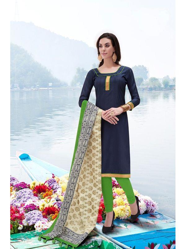Blue Color Bhagalpuri Silk Un Stitched Suit With Dupatta