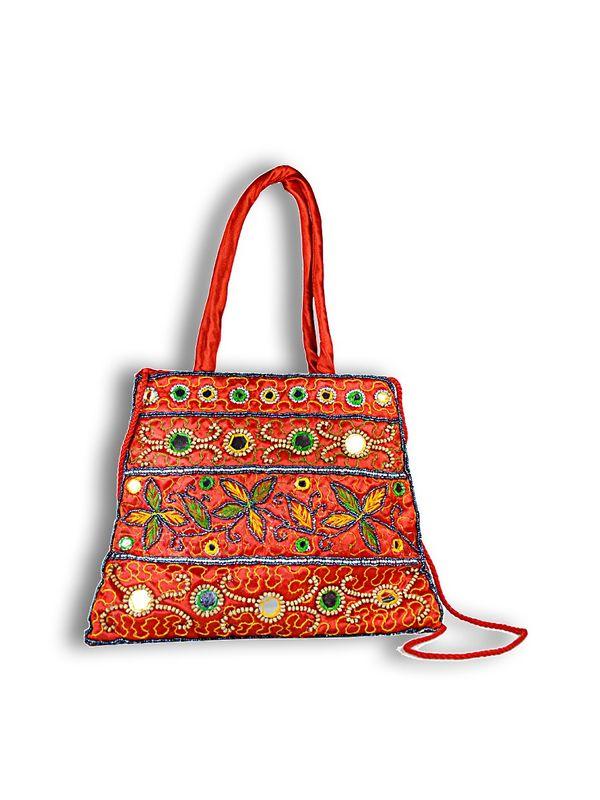 Raw Silk Ethnic Orange Color Shoulder Handbag