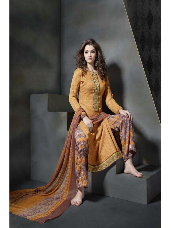 Pashmina Orange Color Printed Suit With Pure Chiffon Dupatta