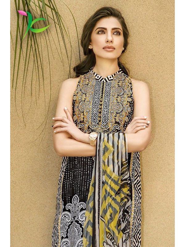 Pakistani Un-stitched Black Printed Pure Cotton Lawn Suit
