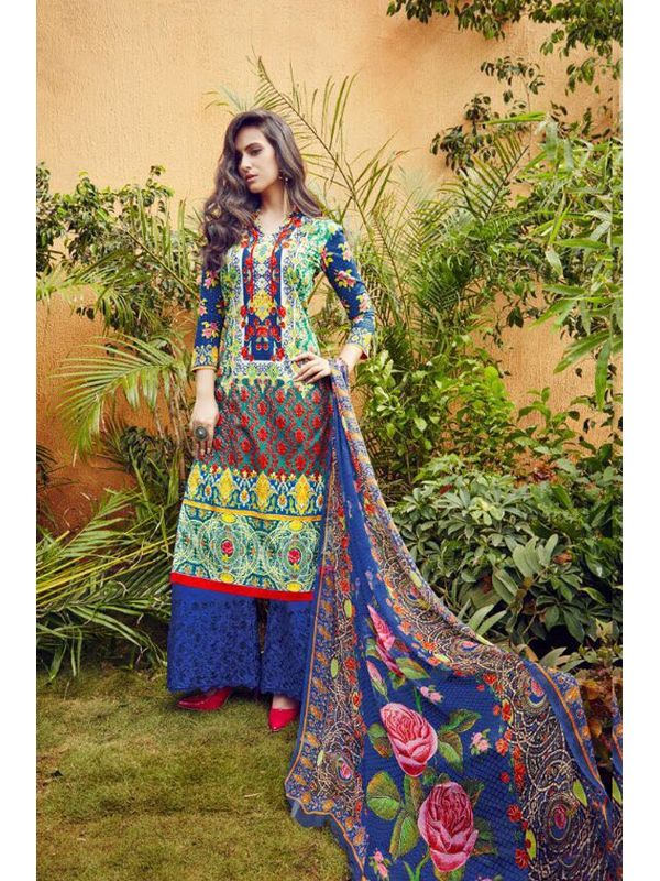 Multi-Color Lawn Cotton Printed Suit With Blue Embroidered Palazzo