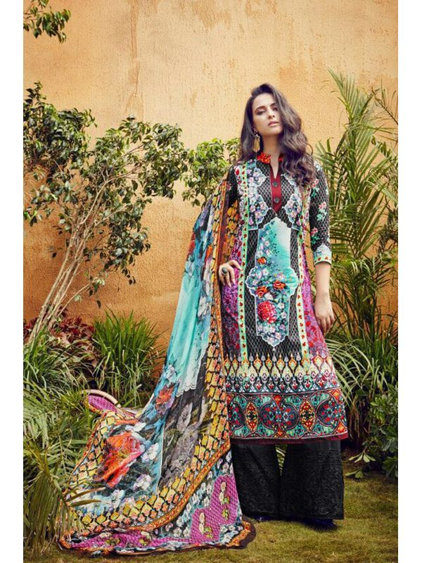 Pakistani Lawn Cotton Printed Suit With Black Embroidered Palazzo