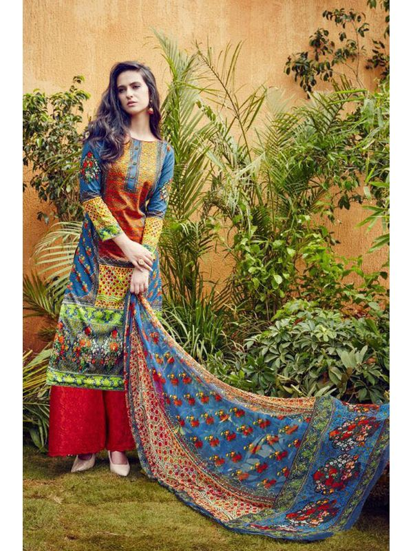 Pakistani Lawn Cotton Printed Suit With Red Embroidered Palazzo
