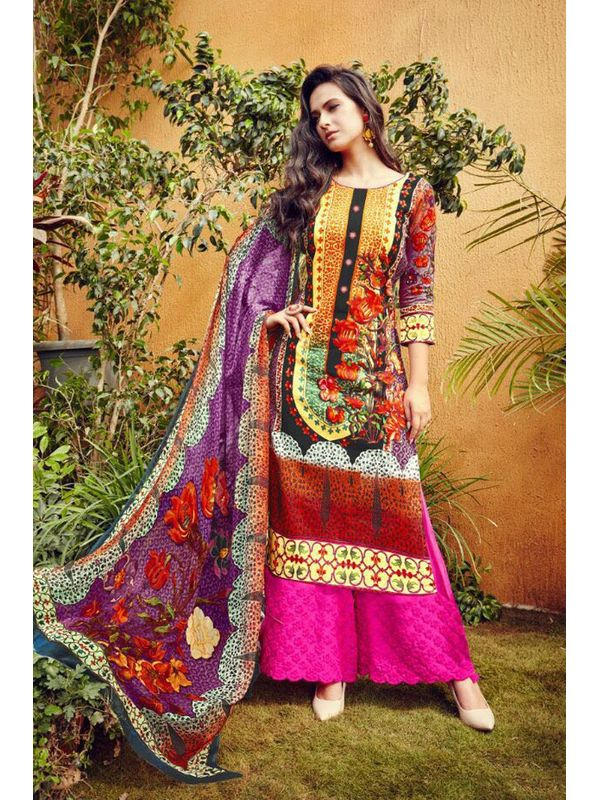 Multi-Color Lawn Cotton Printed Suit With Magenta Embroidered Palazzo