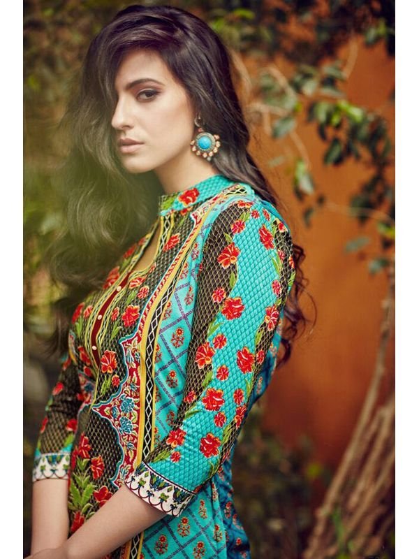 Sea Green Lawn Cotton Printed Suit With Embroidered Palazzo