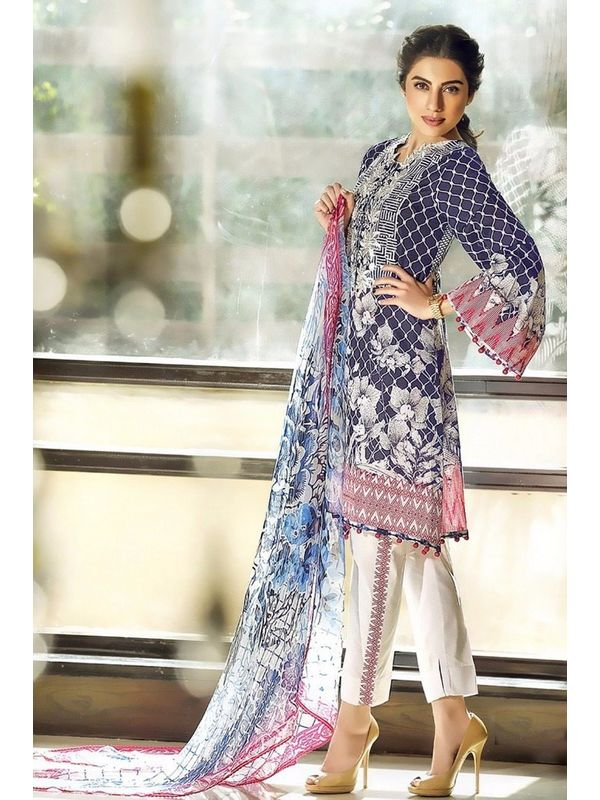 Pakistani Un-stitched Light Purple Pure Cotton Lawn Suit