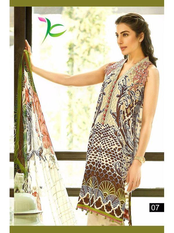 Pakistani Un-stitched White Brown Printed Pure Cotton Lawn Suit