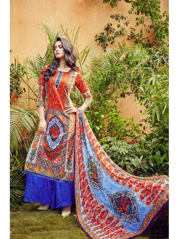 Pakistani Lawn Cotton Printed Suit With Blue Embroidered Palazzo