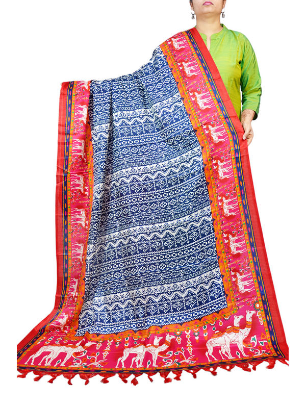 Bhagalpuri Silk Artistic Red Blue Formal Dupatta