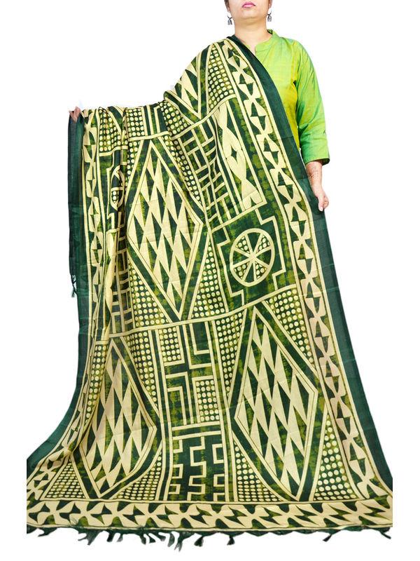 Bhagalpuri Silk Mehndi Green Formal Dupatta
