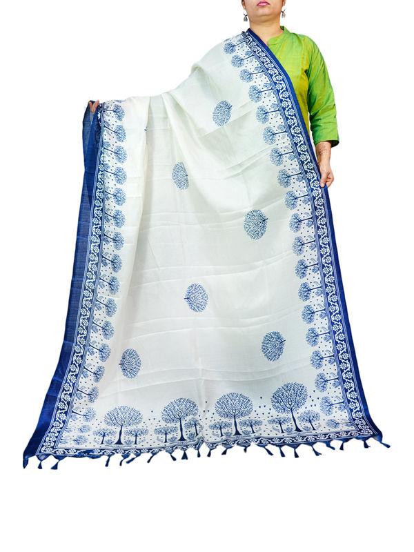 Bhagalpuri Silk Off White Printed Formal Dupatta